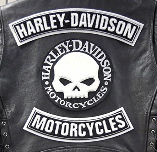 Skull Willie G.Harley Davidson Patch Patches Parches para chaleco o chaqueta, tama�o grande (3 unidades)