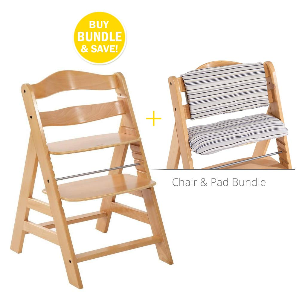 Hauck Alpha Wooden Height Adjustable Chair Bundle w/Seatpad, Natural Wood, Modern Design & Comfortable Feeding Chair. Compatible with Hauck Alpha Bouncer by Hauck - Fun for Kids