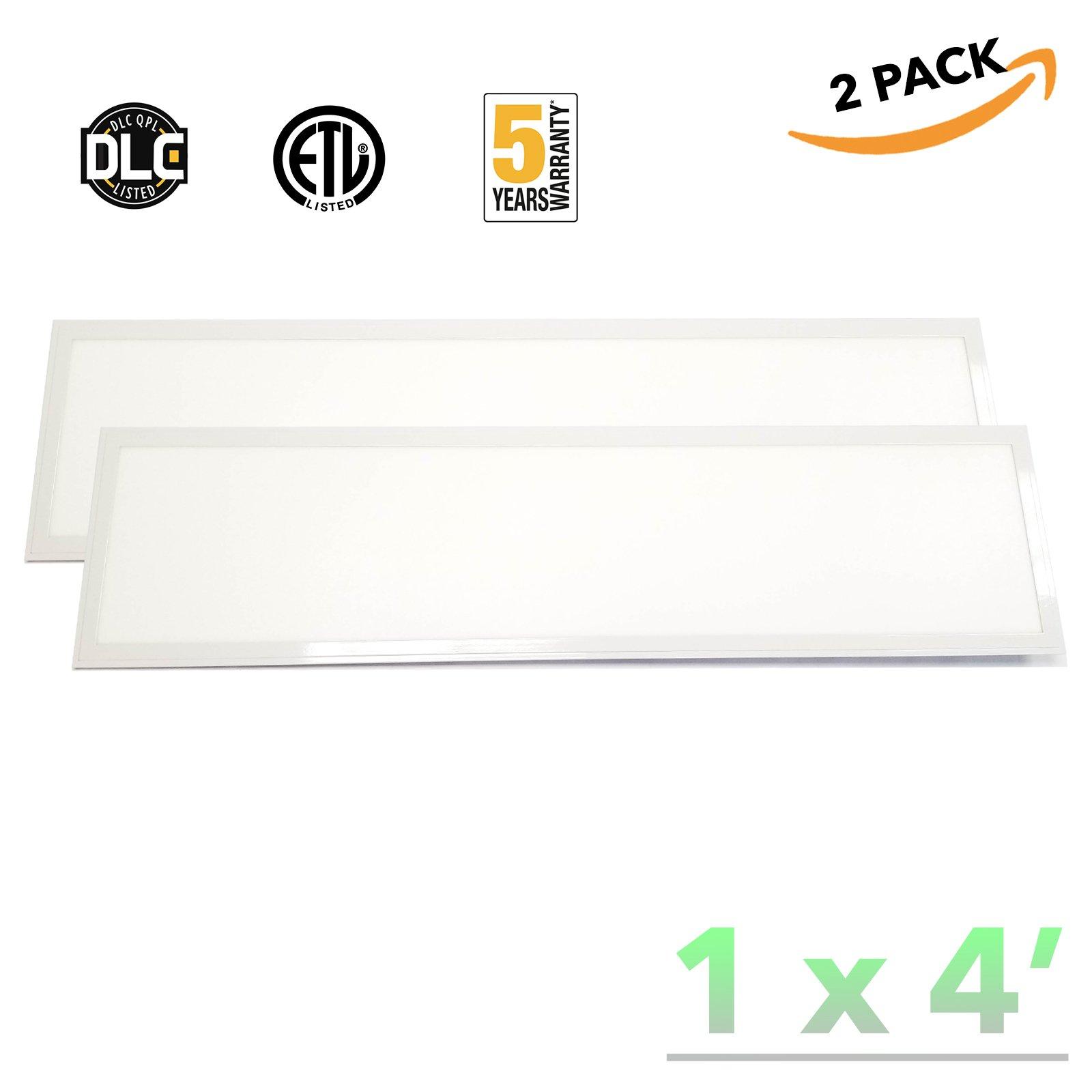 American Greenpower USA LED 1x4 LED Flat Panel Light Troffer, 36W 5000K, Dimmable, 4550 lumens, 125lm/w, DLC Premium 4.3, (2-PACK)
