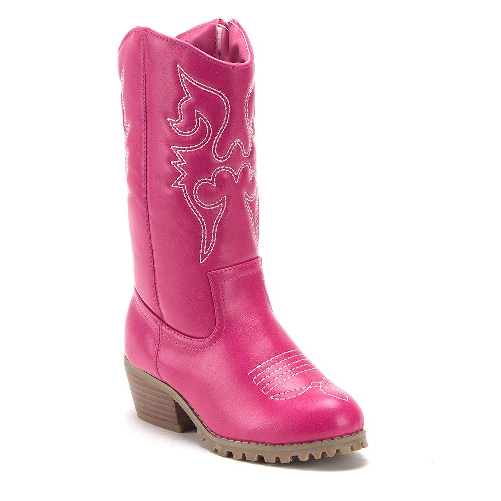 Jazame Little Kids' Girls Tall Stitched Western Cowboy Cowgirl Boots (12 M US Little Kid, Fuchsia)
