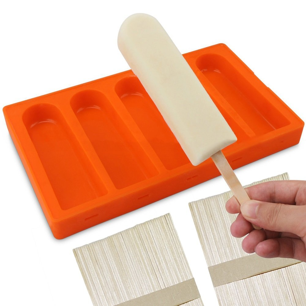 Silicone Popsicle Molds BPA Free, Ice Pop Molds Popsicle Maker with Seal Lid and 50 Popsicle Wood Sticks, (5 Cavities)