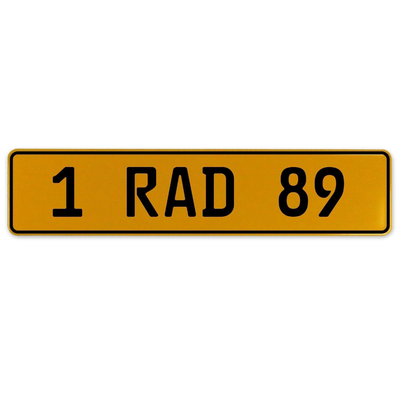 Vintage Parts 559141 Yellow Stamped Aluminum European Plate 1 RAD 89