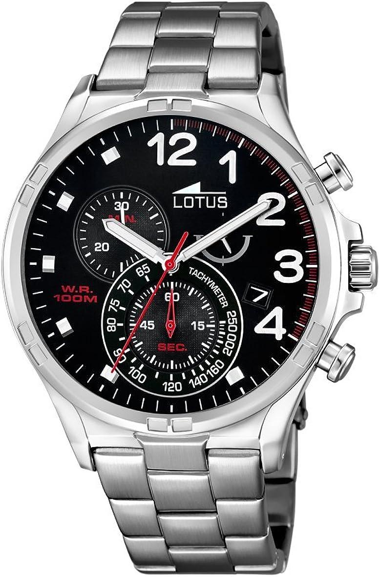 Reloj de Pulsera, Modelo 10126/4, de la Marca Lotus, con cronógrafo, para Hombre, con Mecanismo de Cuarzo, Esfera Negra y Correa de Acero Inoxidable, Color Plateado