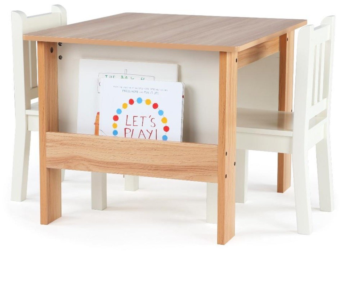 Tot Tutors TC604 Journey Wood Table 2 Chairs Set Book Storage-Natural/White