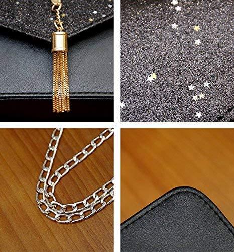 met zwart enkele tas grijs pailletten borduurwerk Crossbody Moontang nieuw Zwart schouder kleur maat nqYCExwv