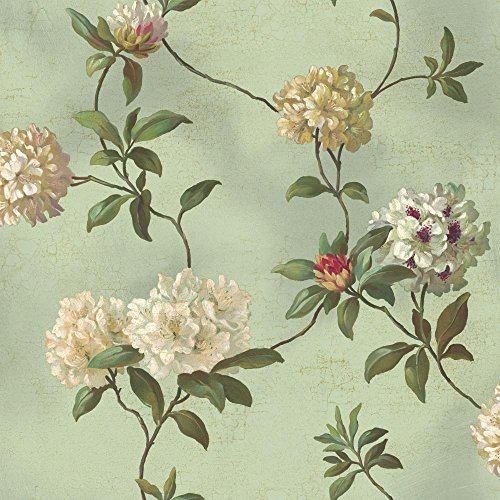 York Wallcoverings HA1289 Green Book Rhododendron/Script Wallpaper, Spa Green/White/Gold