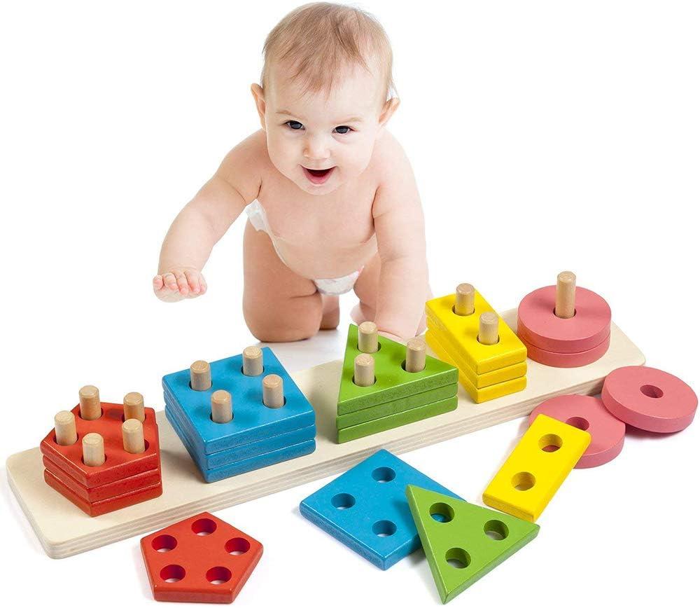 elegantamazing Montessori DIY Bloques de construcción Juguete de Madera Inteligente geométrica Forma apilable Juguete Infantil Juguete Educativo Juego