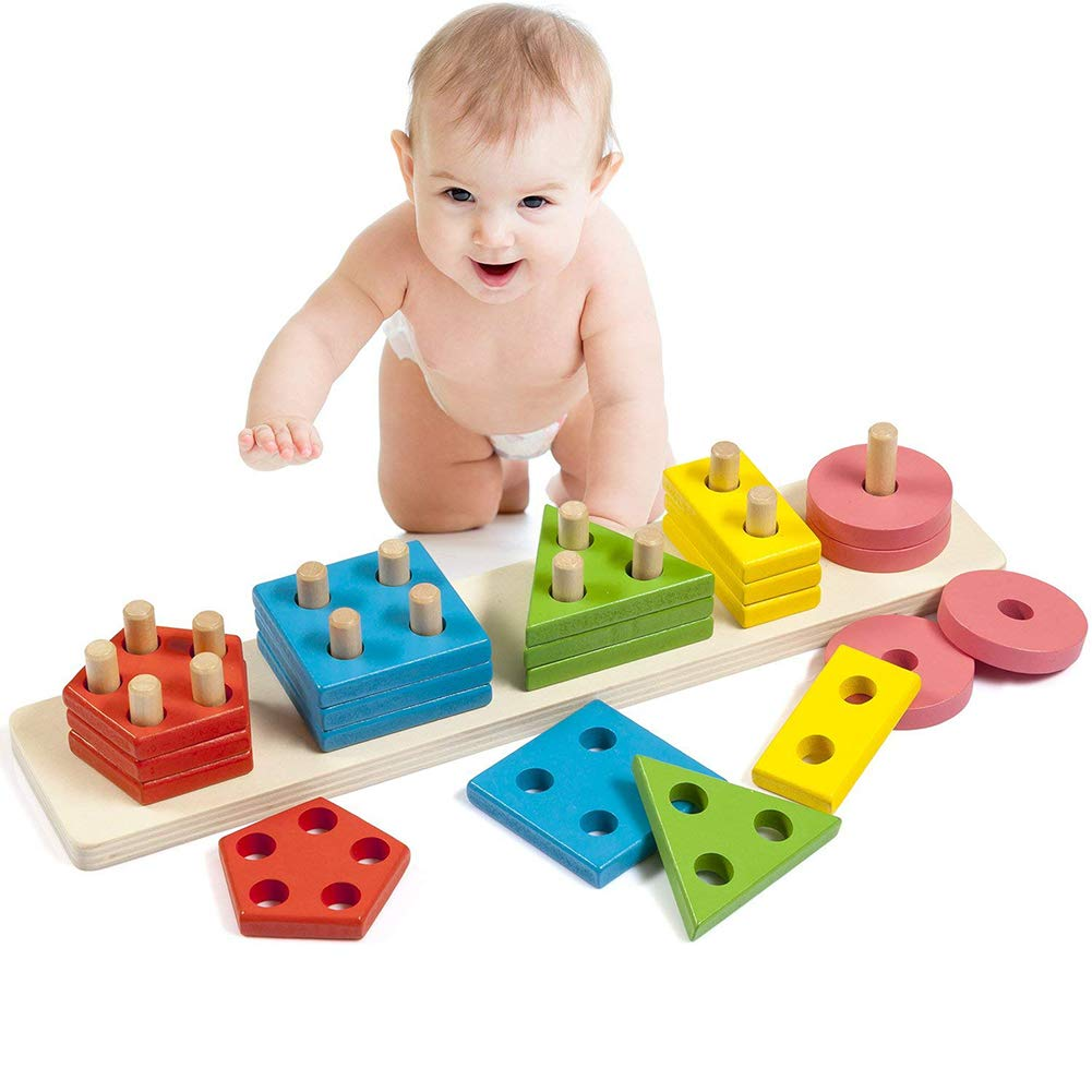 elegantstunning Montessori DIY Building Blocks Jouet Smart en Bois Forme g/éom/étrique empilage Jouet /éducatif Jeux pour Enfants Jouet