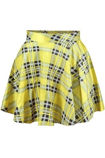 1e3aea28fc Herose Girls Spring Autumn Yellow Grid Tartan Plaid Mini Micro Skirt Free  Size