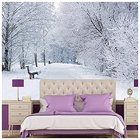 azutura snowy trees wall mural white winter landscape photoazutura snowy trees wall mural white winter landscape photo wallpaper bedroom home decor available in 8 sizes gigantic digital amazon co uk kitchen \u0026 home