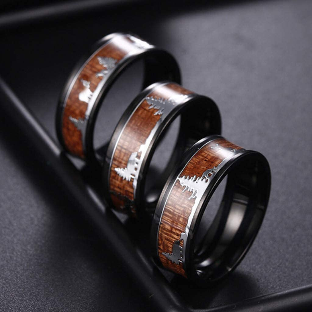 Tronet Wedding Rings for WomenBlack Ring Wood Inlay Deer Stag Silhouette Ring Mens Wedding BandGift for a Girlfriend Family Boyfriend