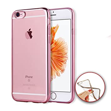 0bbece77608 Donkeyphone 599371031 - funda carcasa bumper con trasera gel tpu silicona  transparente galvanizada con borde color oro rosa metalico para iphone 6 6s:  ...