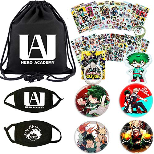 My Hero Academia Bag Gift Set - 1 My Hero Academia Drawstring Bag, 2 Face Masks, 12 Sheet Stickers, 4 Button Pins, 1 Keychain, 1 Phone Ring Holder for Anime My Hero Academia Fans (Hero Anime Guitar)
