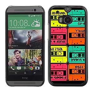 PC/Aluminum Funda Carcasa protectora para HTC One M8 cassette retro colorful mint vintage music / JUSTGO PHONE PROTECTOR