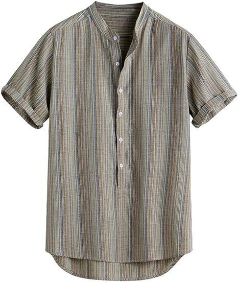 CHENS Camisa/Casual/Unisex/XXL para Hombre Camisas Casuales de algodón de Verano Camisa de los Hombres más el tamaño de la Raya de Manga Corta Suelta Botones Camisa Ocasional Blusa: Amazon.es: Deportes y aire