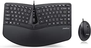 Perixx PERIDUO-406, Wired Mini Ergonomic Split Keyboard and Vertical Mouse Combo - Adjustable Palm Rest - Tilt Scroll Wheel - Membrane Low Profile Keys - Numeric Keypad not Included, US English Layout