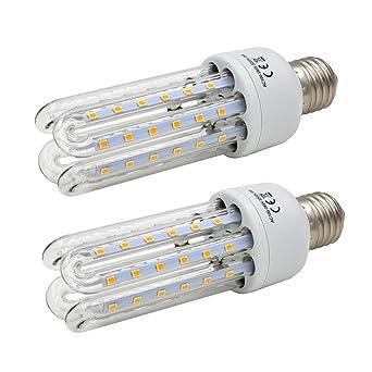 Princeway 2X 220V 9W CE Aprobado Bombilla LED- E27 Base de Lámpara 4U Transparente Tubo de ...