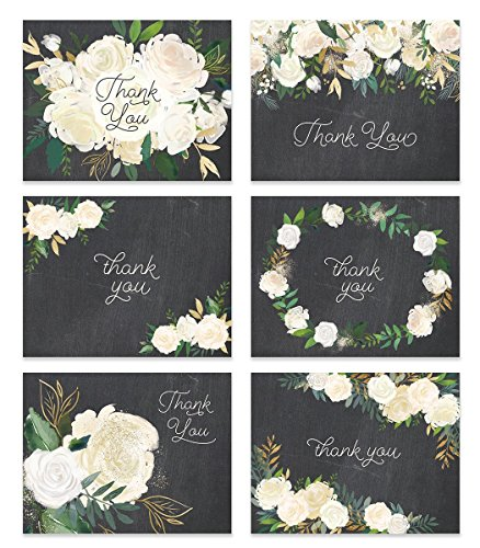 Premium Wedding Thank You Cards ( Set of 24 ) All Occasion Assorted Bridal Shower Shabby Chic Chalkboard Note Card Variety Pack with Envelopes, Blank Inside Excellent Value by Digibuddha VTA0001B (Chic Shabby Tags)
