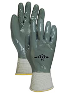 Magid Glove & Safety GP163-10 Magid ROC GP163 Nitrile Fully Coated Gloves, 8, White , 10 (Pack of 12)
