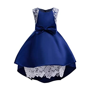 YuanDian Girls Bow Tie Princess Dress Flowers Net Yarn Sleeveless Birthday Party Wedding Bridesmaid Children Formal