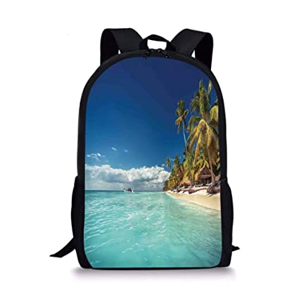 VVIANS School Bags Ocean,Landscape of Paradise Tropical Island Beach with Vivid Sky Crystal Water