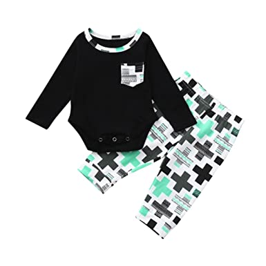 79d657a09e7e Sixcup 2PC Baby Long Sleeves Rompers Pants Infant Kids Jumpsuits  Bodysuit+Trousers Clothes Newborn Boys Girls Playsuits Toddlers Outfits   Amazon.co.uk  ...