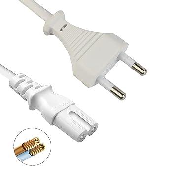 DTK Cable de alimentaciš®n Euro,2 Meters,CEE 7/16 Schuko-IEC C7 ...