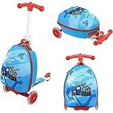 Funo Woo Luggage Suitcase Scooter Monopattino con Zaino Bambini da 3 a 7 Anni a Tre Ruote Pieghevole Scooter Regolabile in Altezza Skate in Alluminio Carico Massimo 50 kg