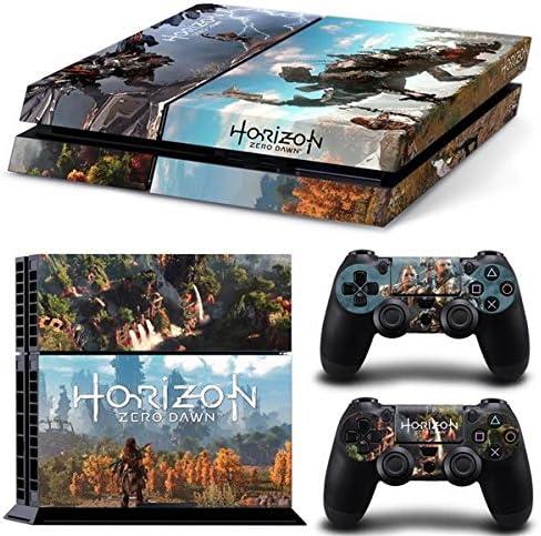 THTB Playstation 4 + 2 Controller Aufkleber Schutzfolie Set - Horizon Zero Dawn (1) /PS4