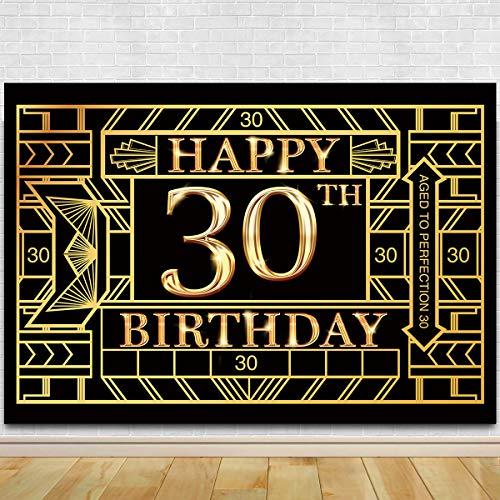 Great Gatsby Birthday (30th Birthday Photography Backdrop - Great Gatsby Thirty Birthday Photography Background - 30th Birthday Black Gold Party)