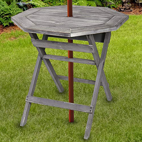 MyGift Rustic Gray Pine Wood Outdoor Folding Bistro Table, 30-inch Patio Dining Table with Umbrella Hole