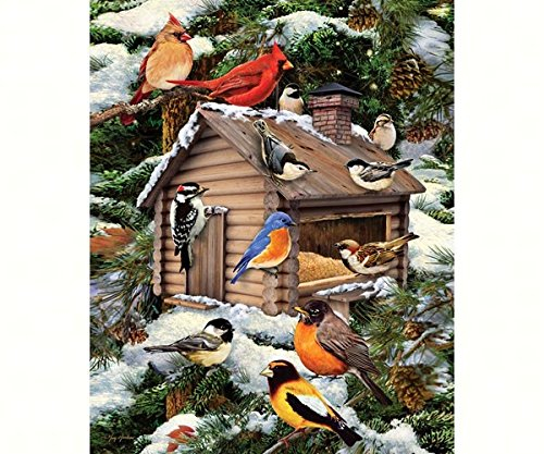 es Log Cabin Birdhouse - 1000 Piece Jigsaw Puzzle (White Mountain Puzzles Birds)