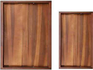 GNGZ Wooden Tray Set - Walnut Wood Tray | Serving Tray | Bed Tray | Ottoman Tray | Decorative Tray | Coffee Table Tray | Food Tray | Serving Tray with Handles | Breakfast Tray | Tea Tray
