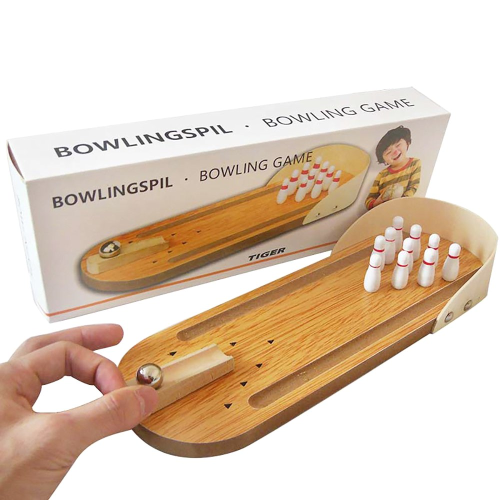 Wooden Mini Bowling Game Set with Lane Best Interactive Tabletop Bowling Game for Kids and Adults Easy to Assemble and Play Perfect Stress Relief Game and Party Favor