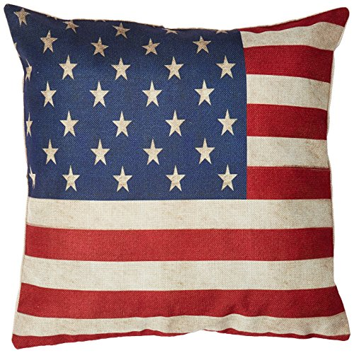 Decorbox Cotton Linen Square 18 x18-Inches US Flag Decorativ