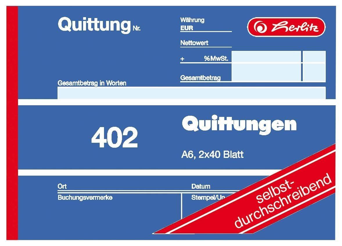 selbstdurchschreibend Herlitz Quittungsblock A6 402 2x40 Blatt 4er Pack
