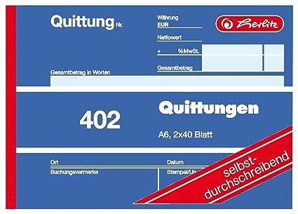 Herlitz 7876147 Quittungsblock A6 402 2x40 Blatt selbstdurchschreibend 100er Pack