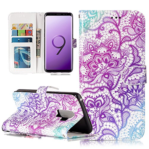 Galaxy S9 Cases, Harsel Floral Totem Design [Kickstand Feature] Magnetic Closure Book Style Leather Case Folio Flip Cover with Card Slots for Samsung Galaxy S9 (Purple) (Lotus Sprint Phone)