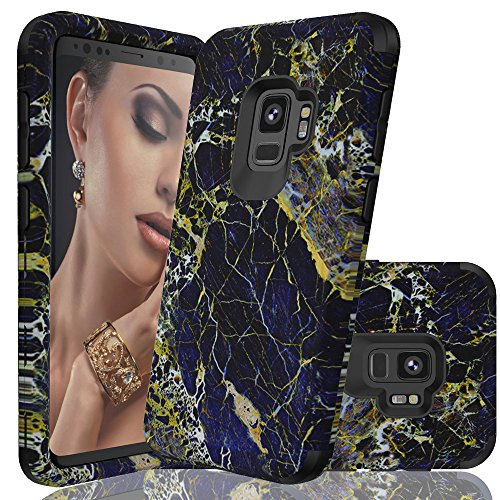 (Galaxy S9 case, NOKEA [Marble Pattern] Three Layer Hybrid Heavy Duty Shockproof Protective Bumper Cover Soft Silicone Combo Hard PC Case for Samsung Galaxy S9 (Black) )