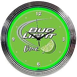 Neonetics Drinks Bud Light Lime Green Neon Wall Clock, 15-Inch