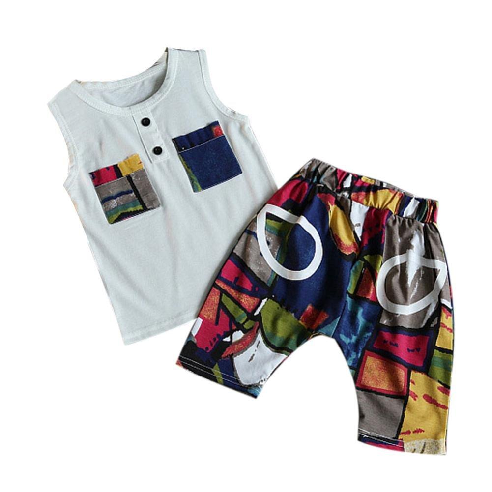 Oyedens Ensembles Shorts Et Haut Garçon Ensemble Bebe Garcon Naissance Mode Infantile Enfant Vetement Bébé Garçon Ete Pas Cher Outfit Sport T-Shirt Tops + imprimé Pantalons