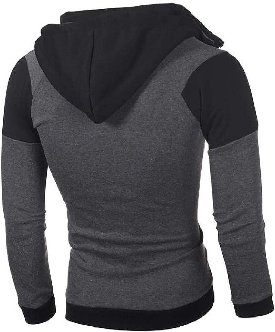 Losait Mens Relaxed Fit Drawstring Sport Fleece Hoode Zip Outwear Sweatshirts