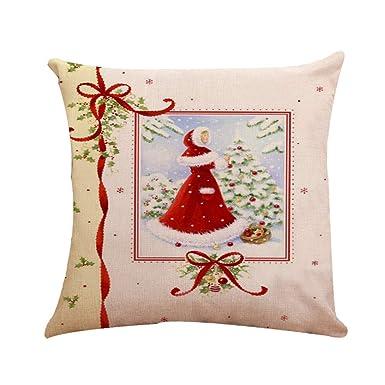 BHYDRY Funda de almohada de algodón de Navidad Funda de cojín de lino Feliz Navidad Decoración del hogar: Amazon.es: Amazon.es