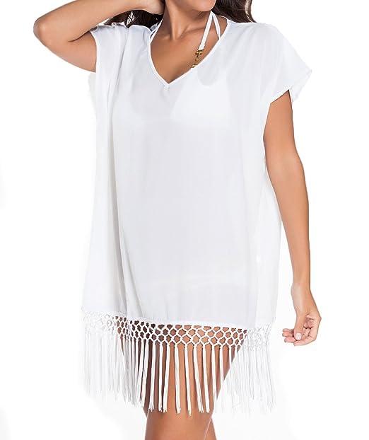 cc597b4fc4 Women Short Kimono Sleeve Crochet Fringe Beach Kaftan Beach dress Beach  Cover Up (white)