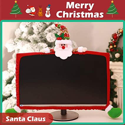 Office decor for christmas Gingerbread Amazoncom Hiotech Computer Monitor Cover Elastic Computer Cover Christmas Decorations For Home Office Decor And New Year Gift Ideas santa Claus Amazoncom Amazoncom Hiotech Computer Monitor Cover Elastic Computer Cover