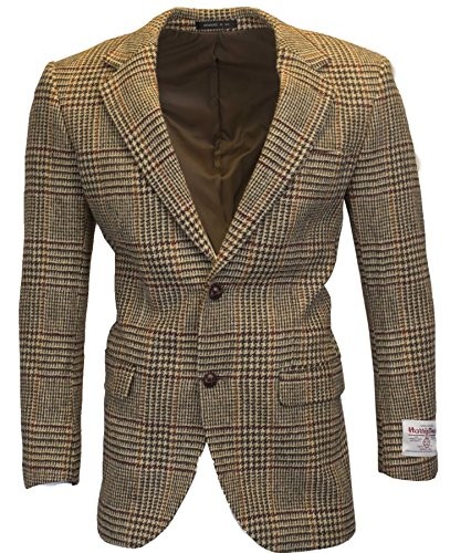 Walker and Hawkes Mens Classic Scottish Harris Tweed Overcheck Country Blazer Jacket - Desert Tan - 44 (Harris Tweed Coat)