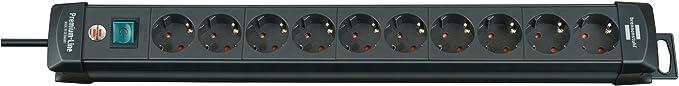 Brennenstuhl Premium-Line, Steckdosenleiste 10-fach (Steckerleiste mit Schalter und 3m Kabel -45° Winkel der Schutzkontakt-St
