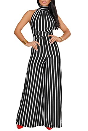 a5828d32b6 JireH Womens Sexy Halter Strap Stripe Sleeveless High Waisted Wide Long  Pants Jumpsuits Rompers Black 3XL