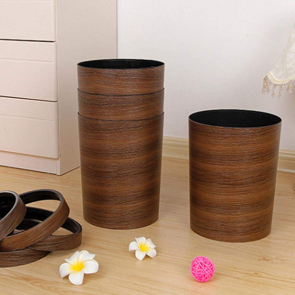 Luerme 10L Trash Can Wastebasket Rubbish Bin Plastic Bucket Garbage Bin with Wood Grain for Bathroom Office Kitchen by Luerme (Image #6)
