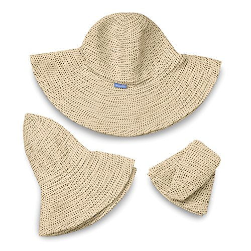 9ed9b40156d Wallaroo Hat Company Women s Scrunchie Sun Hat – Natural Brown Dots – UPF 50 +